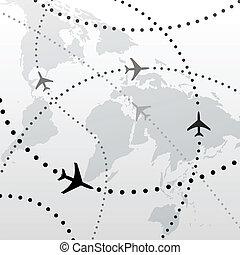 vôo, planos, viagem, conexões, mundo, avião