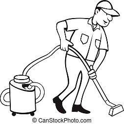 vacuuming, aspirador de pó, comercial, tapete, branca, caricatura, trabalhador, pretas