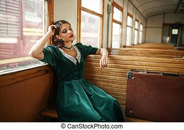 vagão, antigas, trem, retro, femininas, interior, viajante