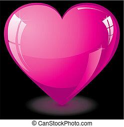 valentine, coração, cor-de-rosa, vidro