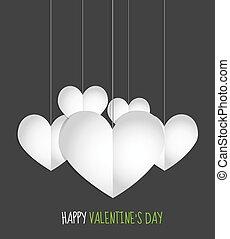 valentine, coração, papel, dia, penduradas