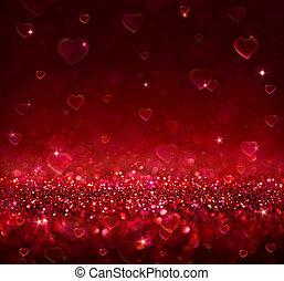 valentine, fundo, corações