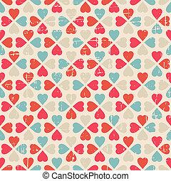 valentine, padrão, seamless, dia, vetorial, retro, style.