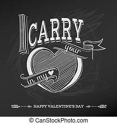 valentine, vindima, -, amor, vetorial, desenho, dia casamento, cartão