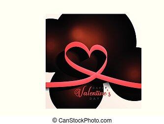 valentines, elegante, fundo, corações, dia, fita