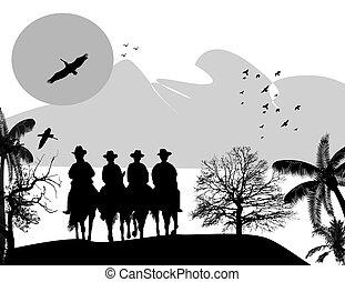 vaqueiros, silueta, cavalos