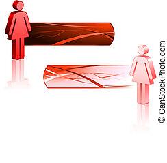 vara, femininas, bandeiras, figuras