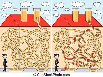 varredor, chaminé, labirinto
