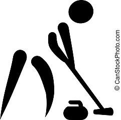 varredor, curling, ícone