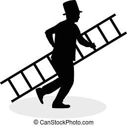 varredura, chaminé, escada