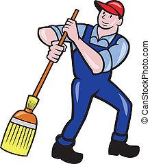 varrendo, limpador, vassoura, zelador, caricatura