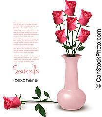 vaso, vetorial, rosas