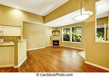 vazio, fireplac, chão, apartamento, plan., vivendo, abertos, sala