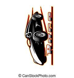 veículo, car, retro, raça, ou, correndo, ícone, desporto