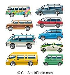 veículo, minibus, jogo, furgão, família, automático, minivan, automóvel, ilustração, isolado, vetorial, fundo, car, citycar, bandeira, branca