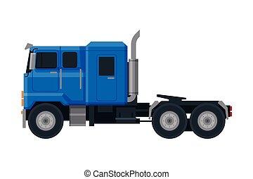 veículo, vista, caminhão, apartamento, azul, entrega, lado, vetorial, carga, ilustração, fundo branco