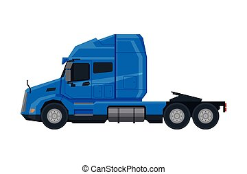 veículo, vista, modernos, caminhão, apartamento, semi, azul, entrega, vetorial, lado, carga, ilustração, fundo branco