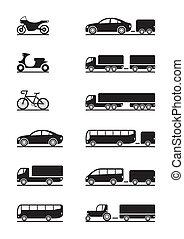 veículos, estrada, ícones