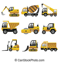 veículos, grande, construção, ícones