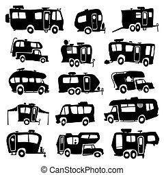 veículos, recreacional, ícones
