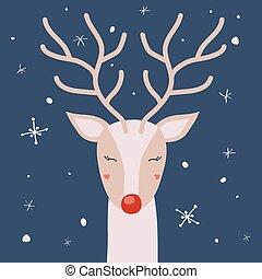 veado, neve, vetorial, chifres, desfrutando, cartão natal