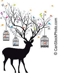 vect, veado, pássaros, birdcages