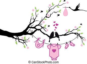 vecto, árvore, menina, pássaros, bebê