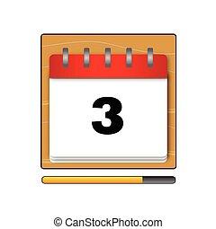 vecto, calendário, dia, terceiro