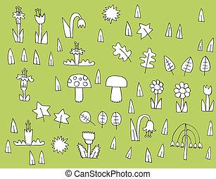 vegetação, pretas, cobrança, caricatura, branca