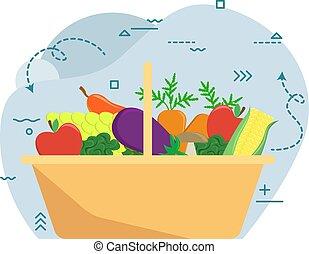 vegetables., fazenda, harvest., outono, frutas, cesta