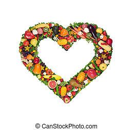 vegetal, coração, fruta