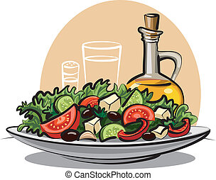 vegetal, fresco, salada, azeite oliva