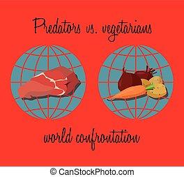 vegetarianos, predadores, vs.