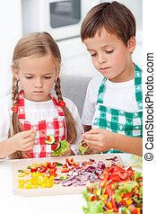 veggies, crianças, preparar, vara