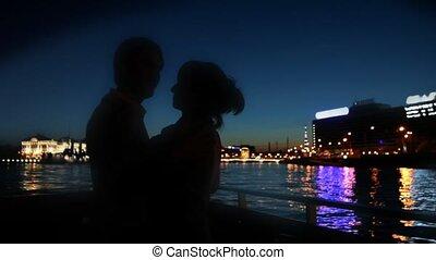 velejando, dançar, par, neva, ao longo, rio, navio