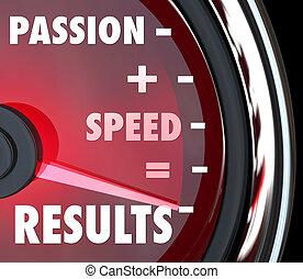 velocidade, semelhantes, resultados, positivo, palavras, paixão, velocímetro