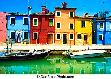 veneza, burano, canal, coloridos, ilha, fotografia, italy., longo, casas, marco, barcos, exposição