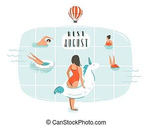 verão, agosto, família, tipografia, citação, abstratos, modernos, isolado, ilustração, mão, vetorial, piscina, fundo, tempo, divertimento, desenhado, branca, natação, caricatura, melhor, feliz