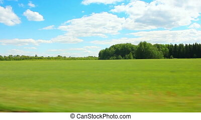 verão, ao longo, verde, dirigindo, campo