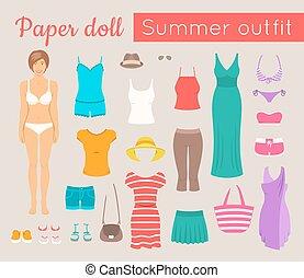 verão, boneca, jogo, papel, menina, roupas