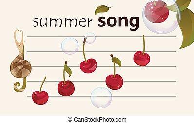 verão, canção, -, fruity, fundo, musical