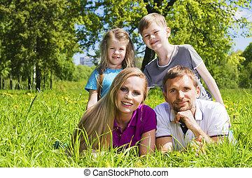 verão, capim, parque, família