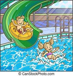 verão, colinas, aquapark., aqua, água, park., divertimento