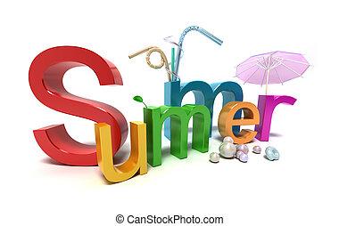 verão, colorido, palavra, branca, letras