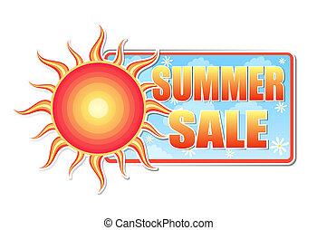 verão, etiqueta, venda, sol