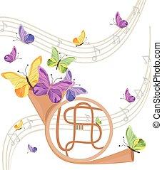 verão, experiência., positivo, instrumento, borboletas, fundo, trompete, musical