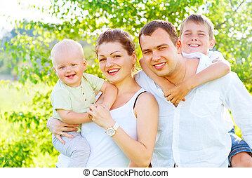 verão, família, parque, jovem, junto, alegre, feliz