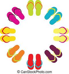 verão, flipflops, coloridos, isolado, círculo, branca