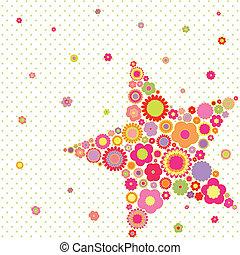verão, flor, estrela, coloridos, primavera, saudação, forma, cartão