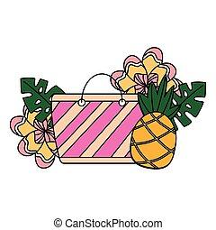 verão, flor, tropicais, saco, abacaxi, praia